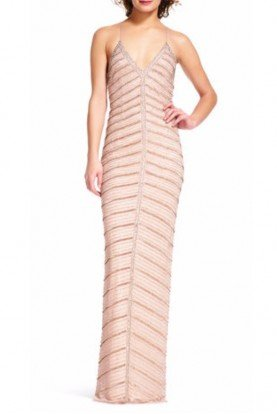 Adrianna Papell Chevron Rose Gold Beaded Halter Gown Open Back