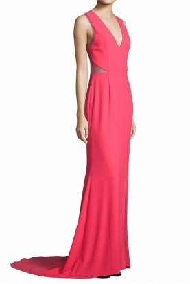 Pink Tangerine Crepe Lace Illusion Gown Dress