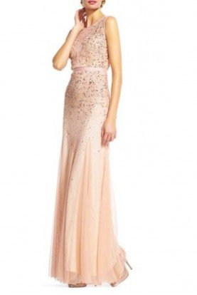 Long Beaded Blush Column Gown Bridesmaid Dress