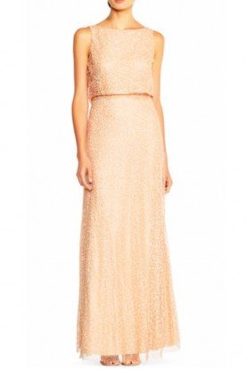Adrianna Papell Coral Nude Popover Cowl Back Gown Dress