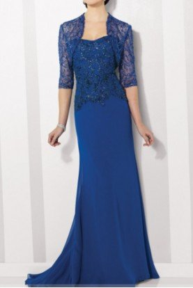Mon Cheri Royal Blue Mother of Bride Gown Lace Bolero 216682