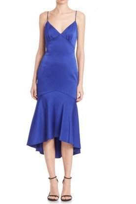 Royal Blue Paneled Cocktail Midi Dress with Deep V