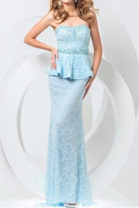 Tony Bowls Peplum Lace Light Blue Strapless Evening Gown