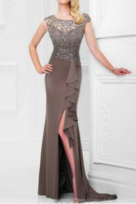 Mocha cap sleeve illusion evening gown with ruffle