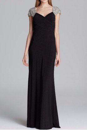 JS Collections Black Capsleeve Jersey Beaded Gown