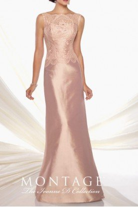 Silk and Lace detail gown in blush with bolero MOB