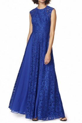 Royal Blue Lace Cap Sleeve Gown High Neck Dress
