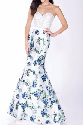 Strapless 3D  Floral Print Evening Gown MCE21639