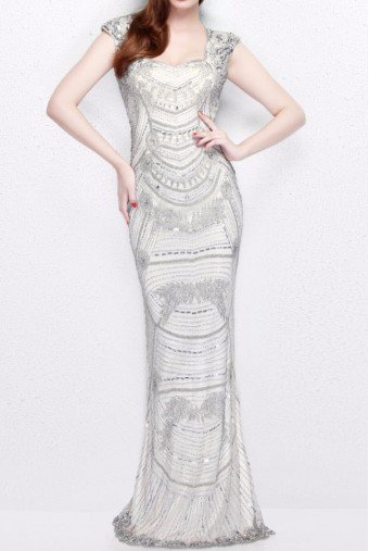 Primavera Couture Embellished Beaded Long Evening Gown Nude 1681