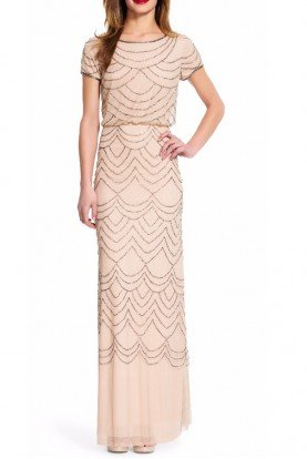 Short Sleeve Blouson Beaded Gown Taupe Pink Dress