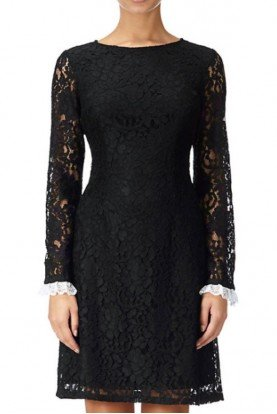Adrianna Papell Long sleeve LBD Lace Shift Cocktail Dress
