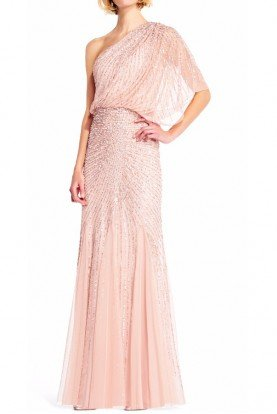 Adrianna Papell One Shoulder Blush Blouson Gown
