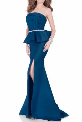 1621E1475 Strapless Peplum Evening Gown Deep Sea