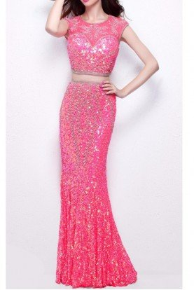 1596 Coral Pink Sequin Embellished Two Piece Gown