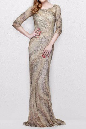 Primavera Couture Champagne Gold Sleeve Beaded Evening Gown 1757