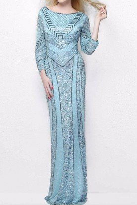 1683 Long Sleeve Geometric Beaded Evening Gown
