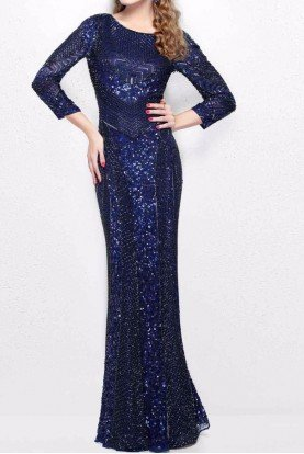 Long Sleeve Navy Beaded Evening Gown 1683