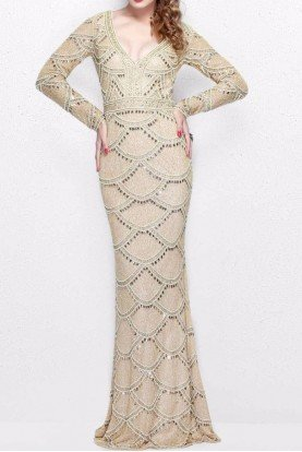Long Sleeve Gold Scallop Beaded Evening Gown 1738