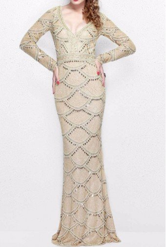 Primavera Couture Long Sleeve Gold Scallop Beaded Evening Gown 1738