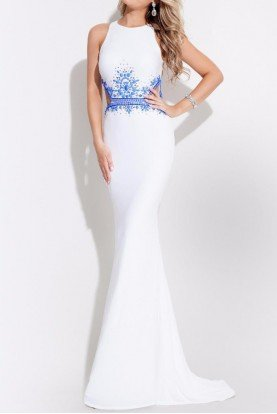 White Jersey Beaded Cut Out Evening Gown