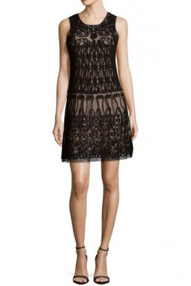 Aidan Mattox Black Nude Hand Corded Embellished Shift Dress