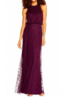 Art Deco Beaded Halter top Gown Cassis Purple