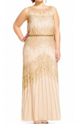 Adrianna Papell Blouson Gown Champagne Gold Fringe Dress Plus size