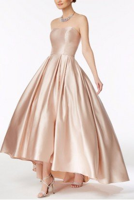 Strapless Sweetheart Hi-low Ball Gown in Pale Pink