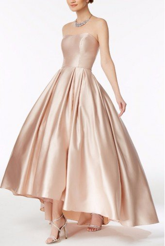Betsy and Adam  Strapless Sweetheart Hi-low Ball Gown in Pale Pink