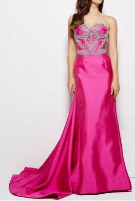 Hot Pink Strapless Mermaid Evening Gown 62256M