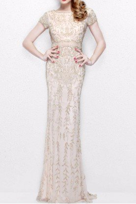 1735 Beaded Leaf Print Evening Gown in Nude