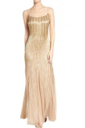 Champagne Gold Beaded Ombre Gown