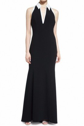 Sleeveless Two Tone Evening Gown Black White