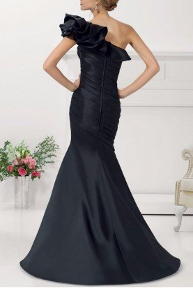 Mori Lee One Shoulder Ruffled Evening Gown Champagne Bronze