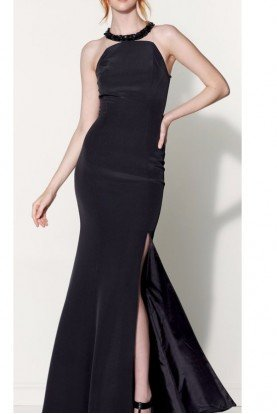 Black Gown with Deep Slit Embellished