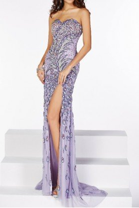 Lavender Beaded Celebrity Column Gown 41076