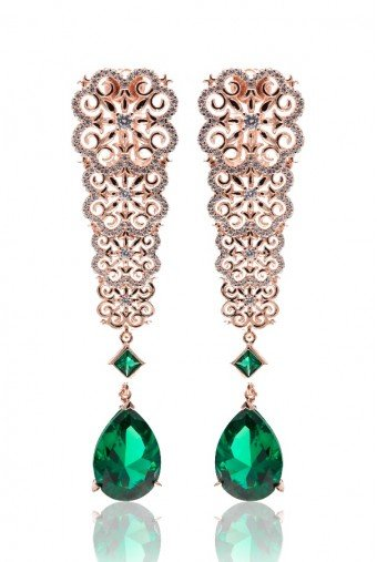 Sandugash Gallo Jewelry RAMINA Rose  Gold  Drop Earrings  with Nano Glass