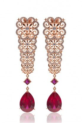 RAMINA Rose  Gold  Drop Earrings  with Corundum