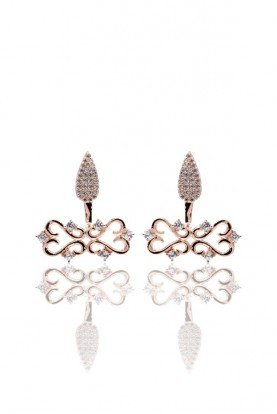 Sandugash Gallo Jewelry ANNA Rose  Gold  Drop Earrings  with CZirconia
