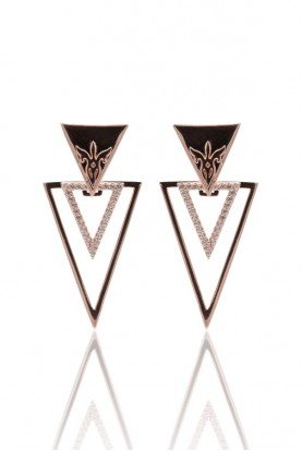 SEMIKINA Rose Gold Plated Earrings Triple Triangle