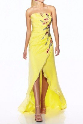 Strapless Silk Floral Embroidered Gown Yellow