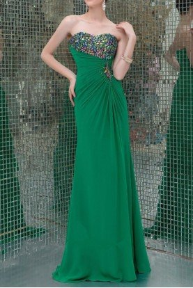 41090 Sparkling Strapless Evening Gown Green Dress