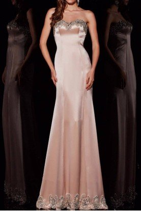 Angela and Alison Champagne Nude Strapless Embellished Evening Gown
