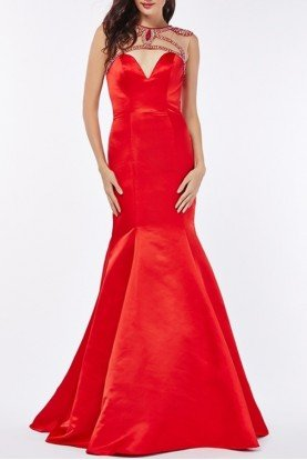 Red Embellished Cutout Mermaid Evening Gown