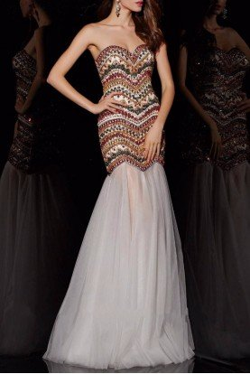 Strapless Embellished  Beaded Mermaid Gown 51006