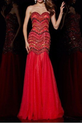 51006 Strapless Beaded Red Mermaid Evening Gown