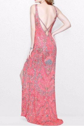 1808 Open Back Beaded Coral Pink Evening Gown
