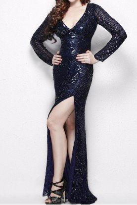 9924 Navy Blue Long Sleeve Sequin Evening Gown
