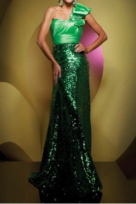 One shoulder Sequin Green Gown Pageant 111539