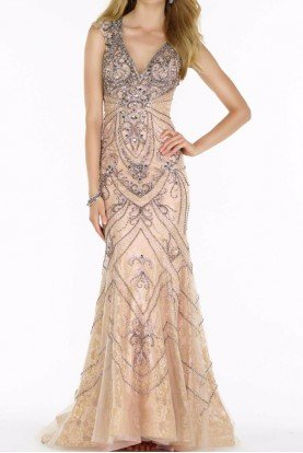 Champagne Beaded Illusion Evening Gown 6714